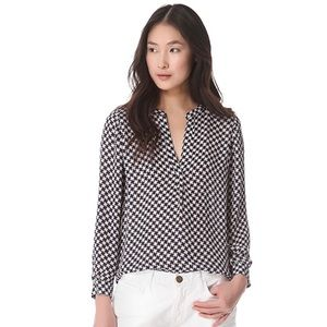 Joie Peterson Silk Houndstooth Blouse